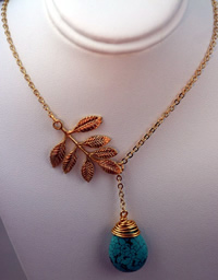 Turquoise Tear + Branch Necklace